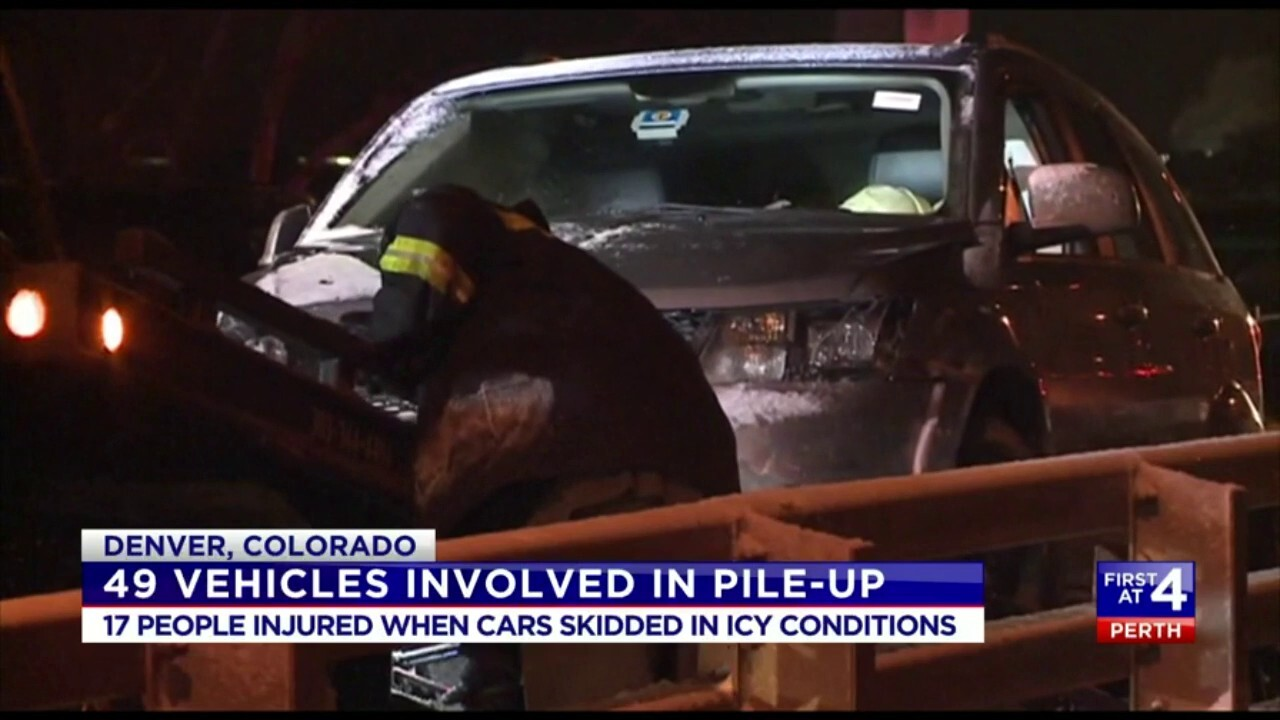 17 people were injured after cars skidded across the icy roads in Denver.