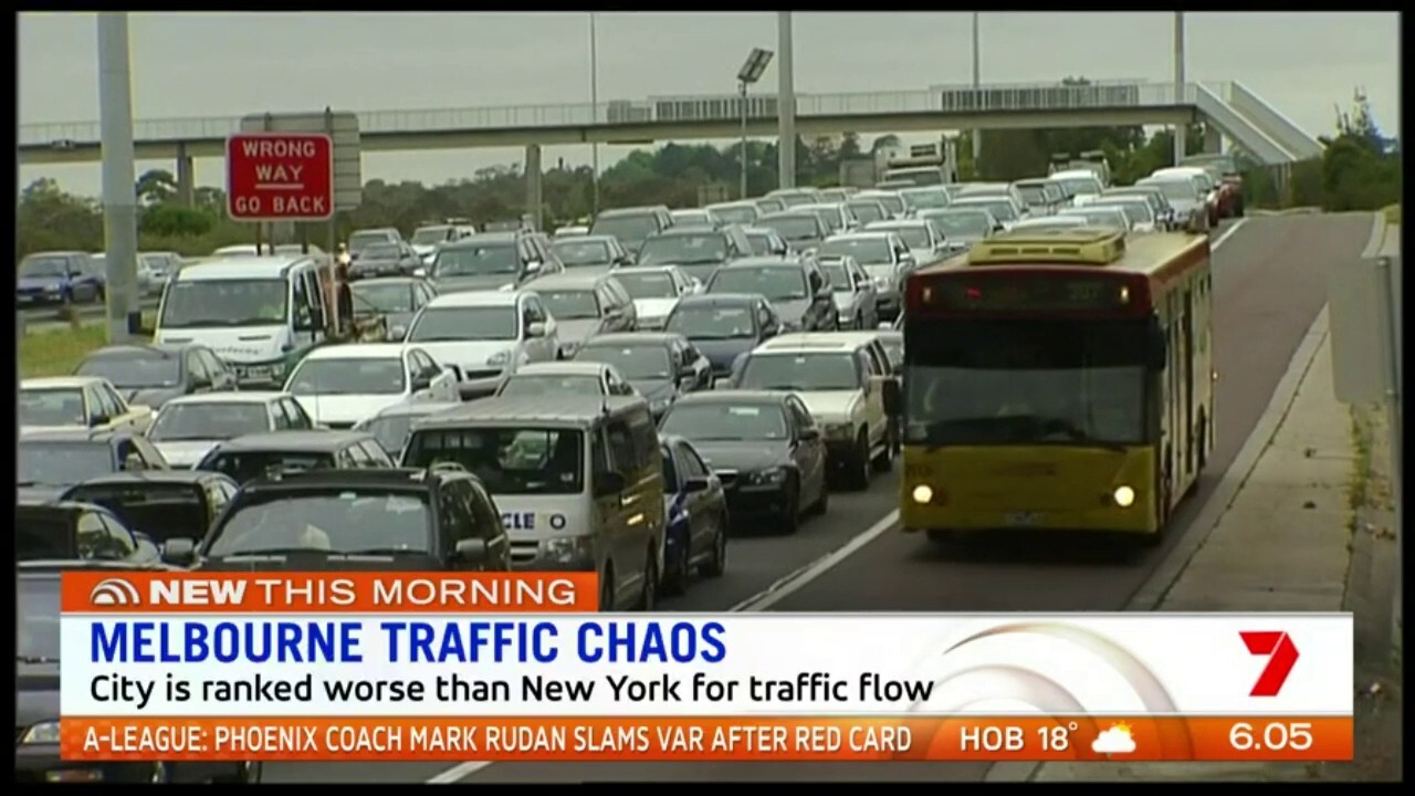 Traffic in Melbourne is so bad its been ranked worse than New York and Rome