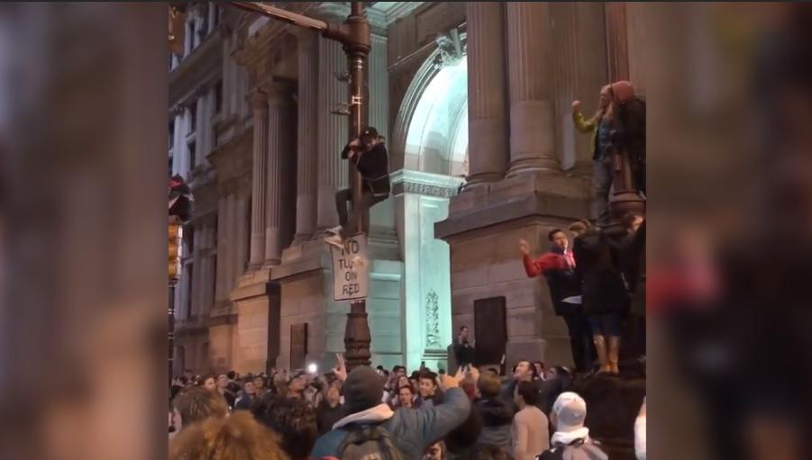 Eagles fans have taken their celebrations to the streets of Philadelphia, but things look out of control.