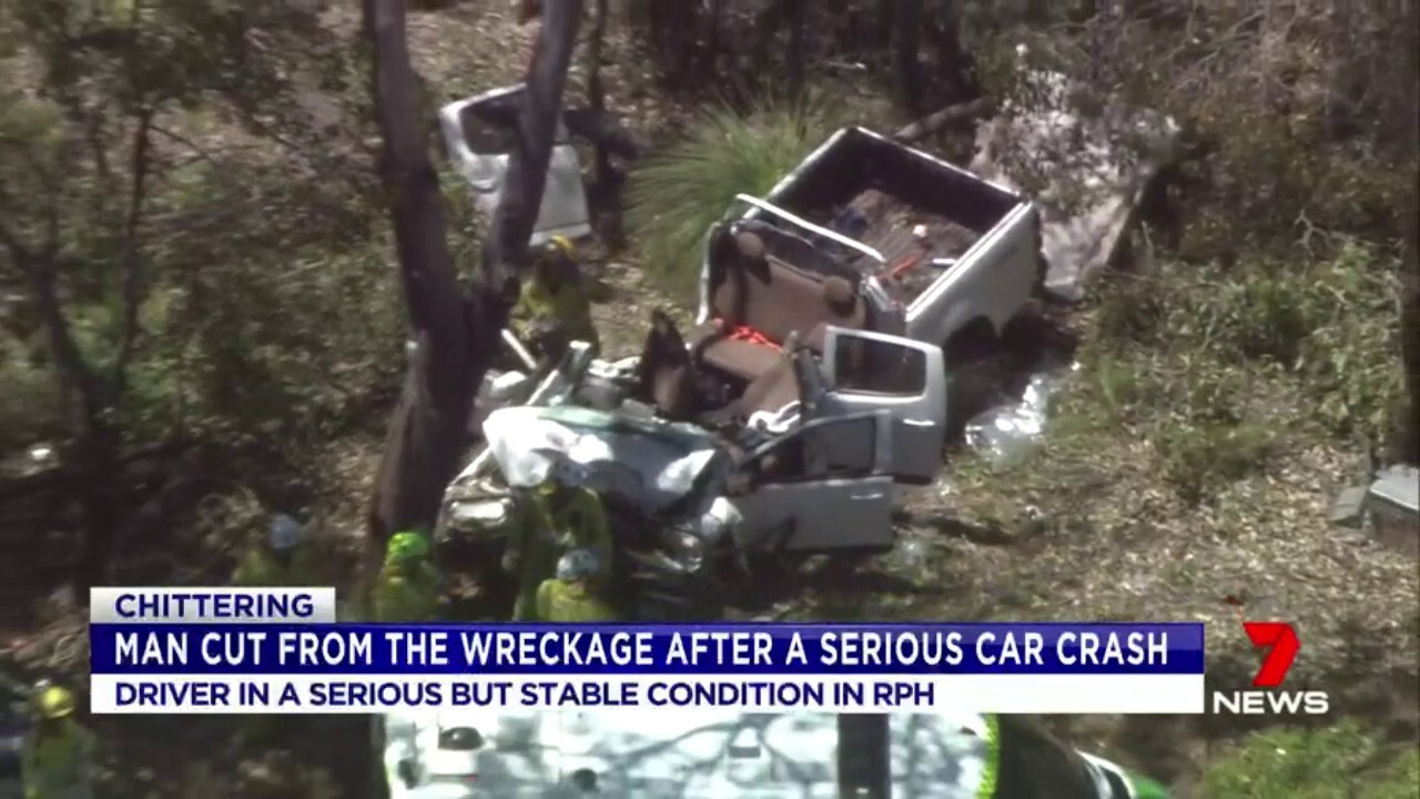 A driver is in a serious but stable condition after a crash near Chittering.