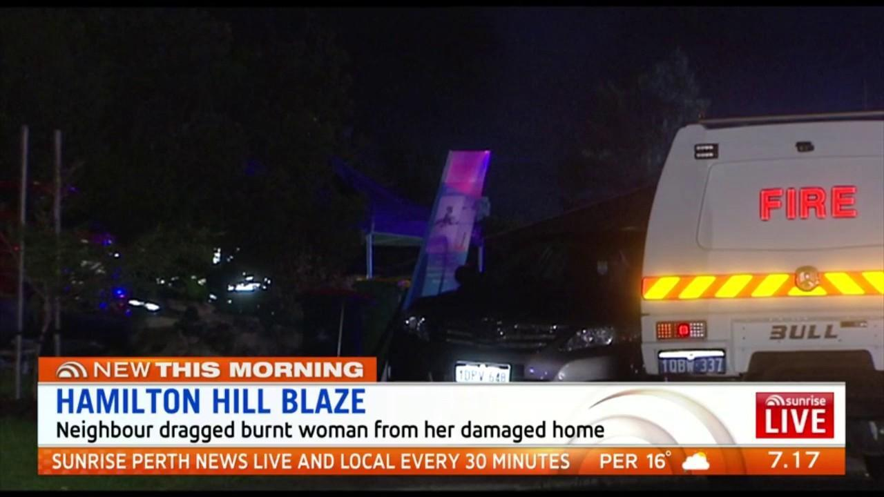 A 54-year-old Hamilton Hill woman had to be dragged from her burning home by a neighbour after a fire broke out