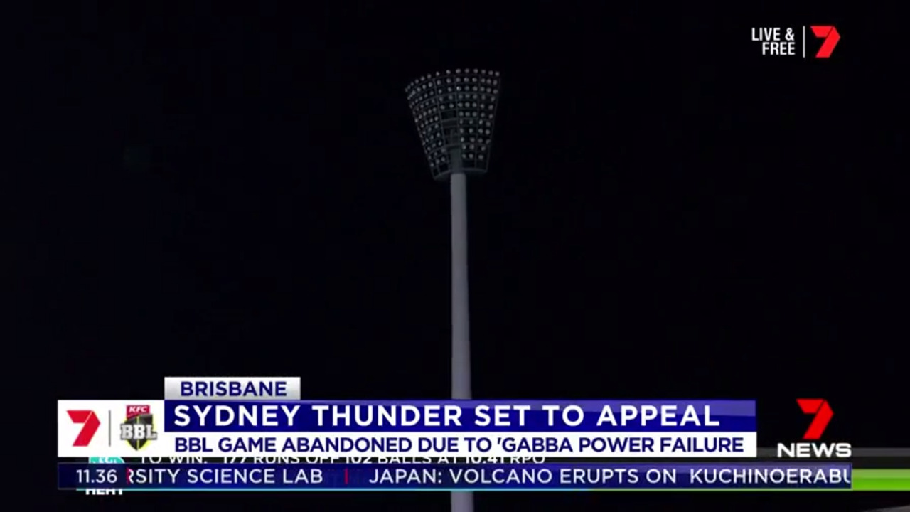 Sydney Thunder are contemplating appealing the decision not to award them two points after the match at the GABBA had to be abandoned due to a power failure