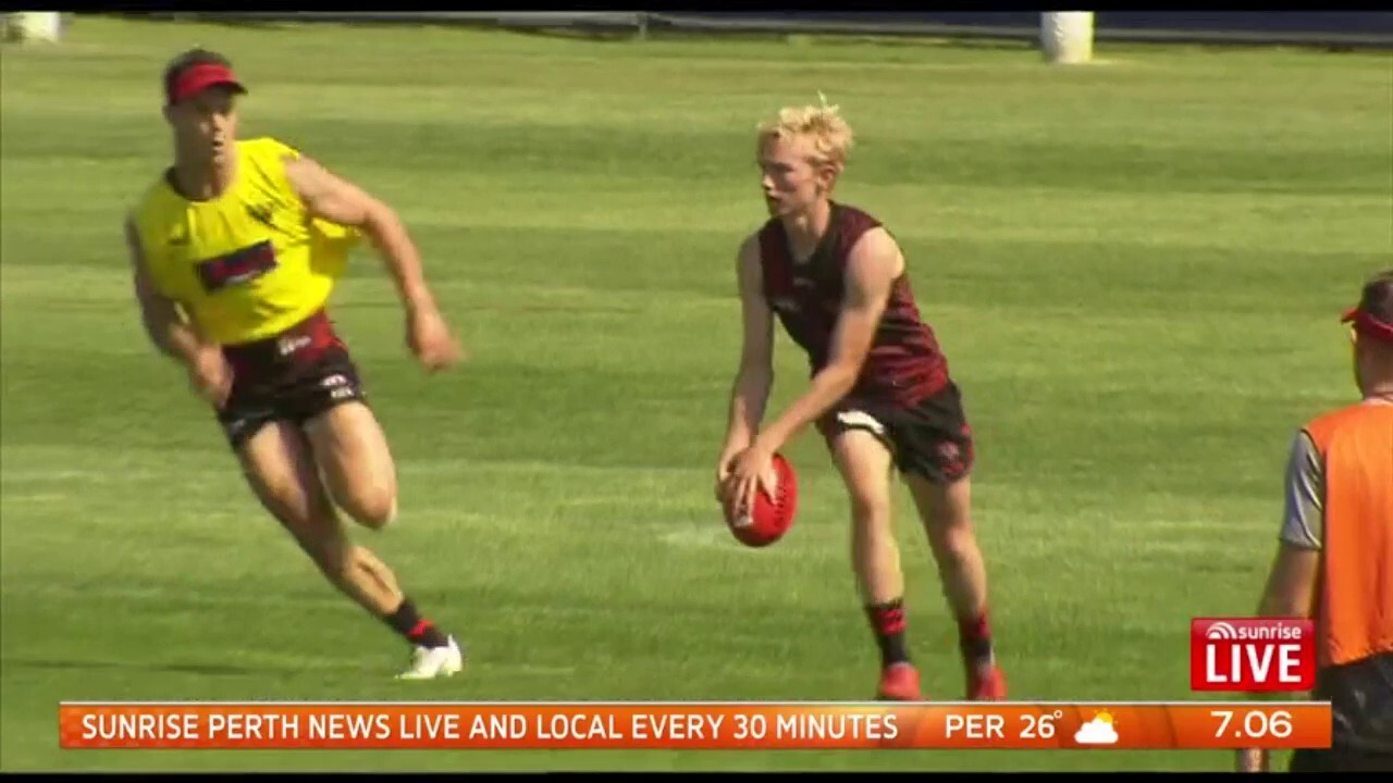 James Hird's 17-year-old son Tom is training with the Bombers and is eligible to be drafted at the end of this year