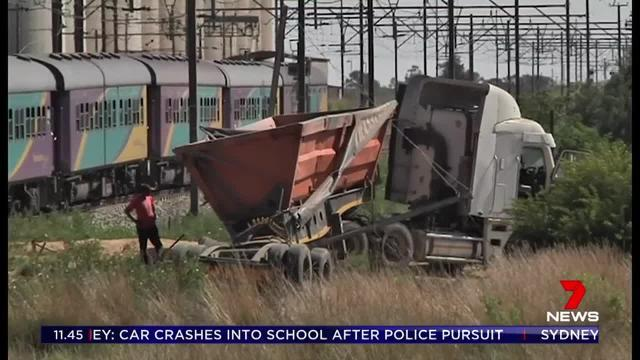 The passenger train collided with a truck on a level crossing