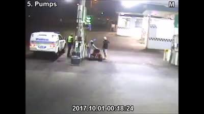The Tasmanian man is alleged to have been three times over the limit when he drove to a petrol station on the ride-on.