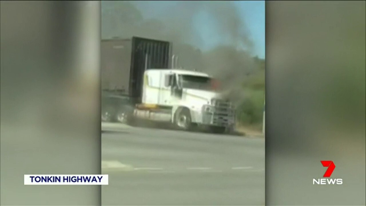 A truck fire has closed southbound lanes on Tonkin highway near Welshpool road.