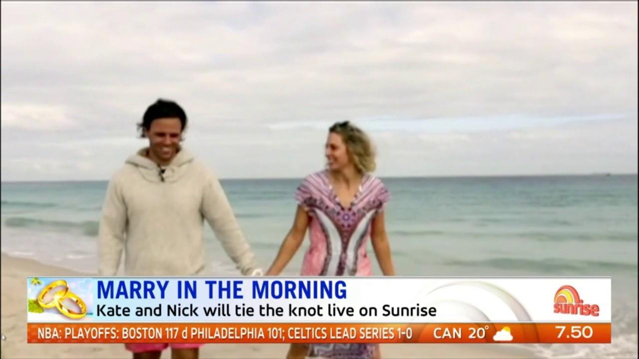 Kate and Nicholas won a competition to marry live on Sunrise in Fiji