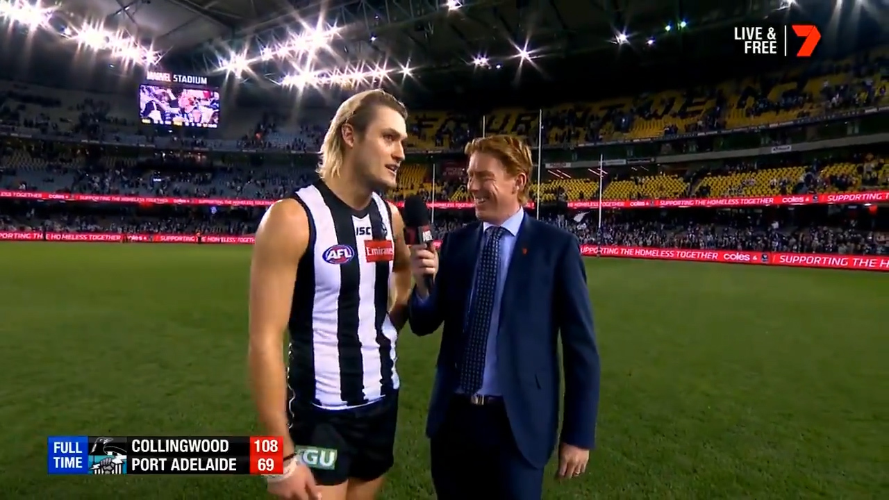 WATCH: Collingwood's Darcy Moore dressed as Keira Knightley at last year's Mad Monday celebrations, and it appears he's well and truly embracing the similarities.