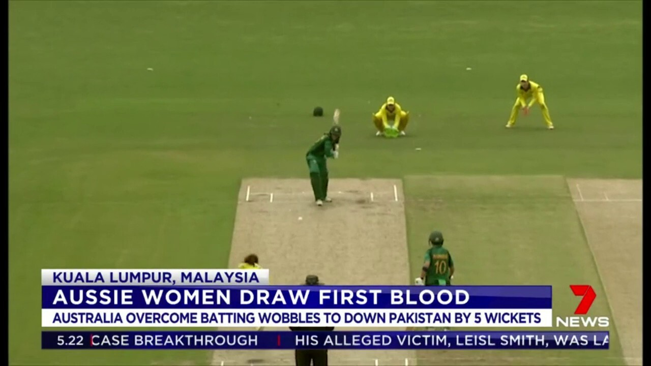 The Australian Women's cricket team overcame batting wobbles to down Pakistan by 5 wickets in Malaysia