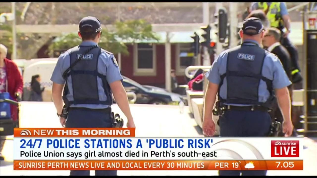 The Police Union says a teenage girl almost died in Perth's south-east because two officers manning a 24/7 police station were allegedly told they could not go to help