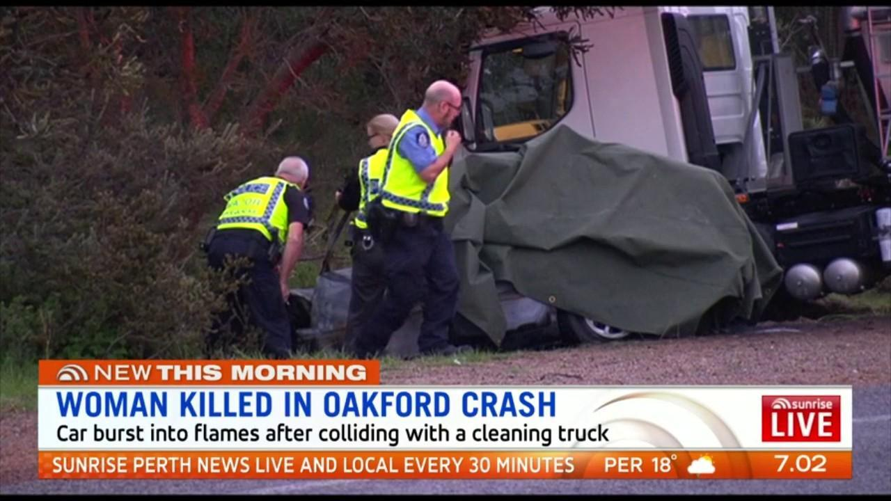A 21-year-old woman died at the scene when her Toyota Corolla burst into flames after colliding with a cleaning truck in Oakford on Monday afternoon.