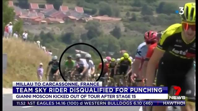 Gianni Moscon was kicked out of the Tour after stage 15 for punching a rider