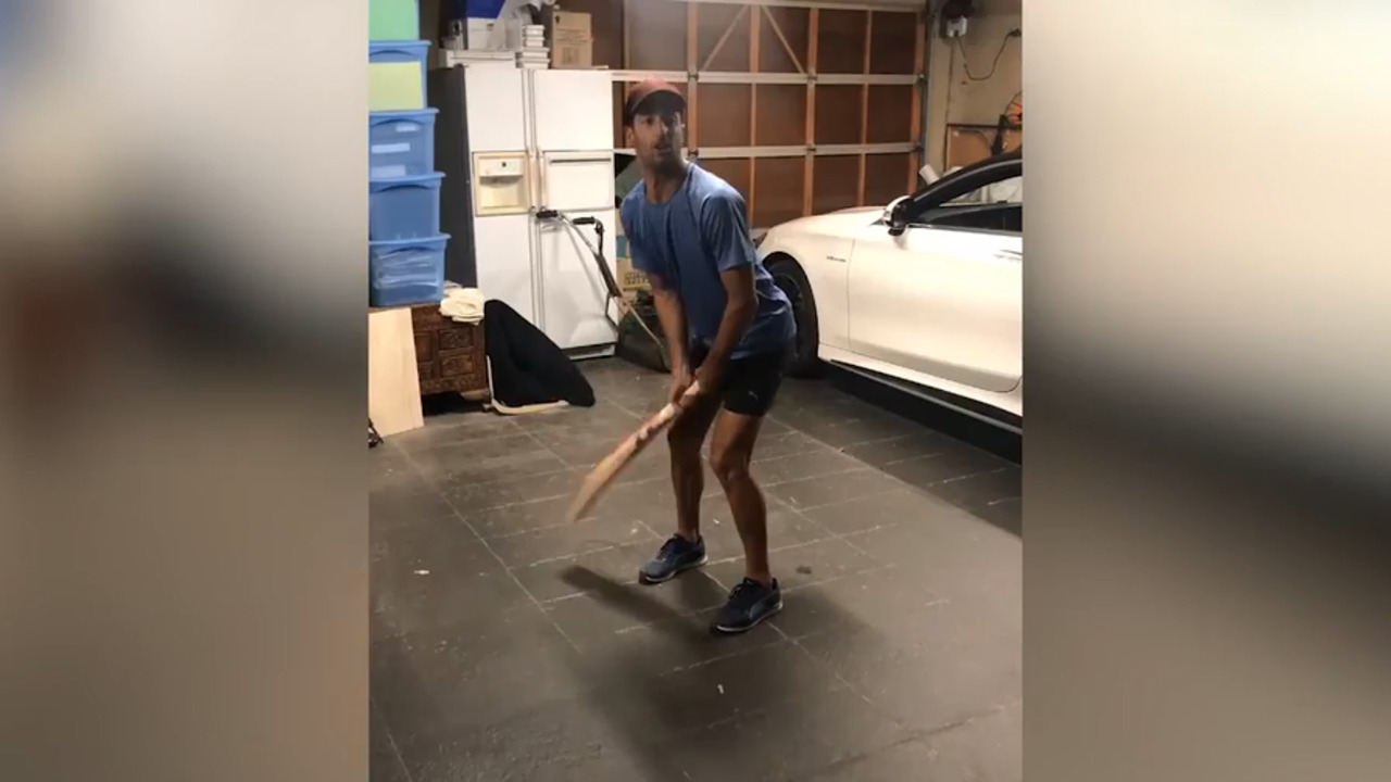 WATCH: Australian cricketer Marcus Stoinis has posted a hilarious video of F1 driver Daniel Ricciardo failing to drive a cricket shot.