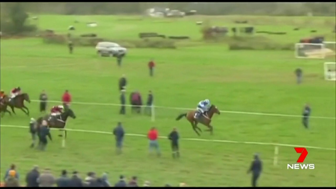 Mikey Sweeney almost blew his chances as he fell from his horse, but held on to win the race.