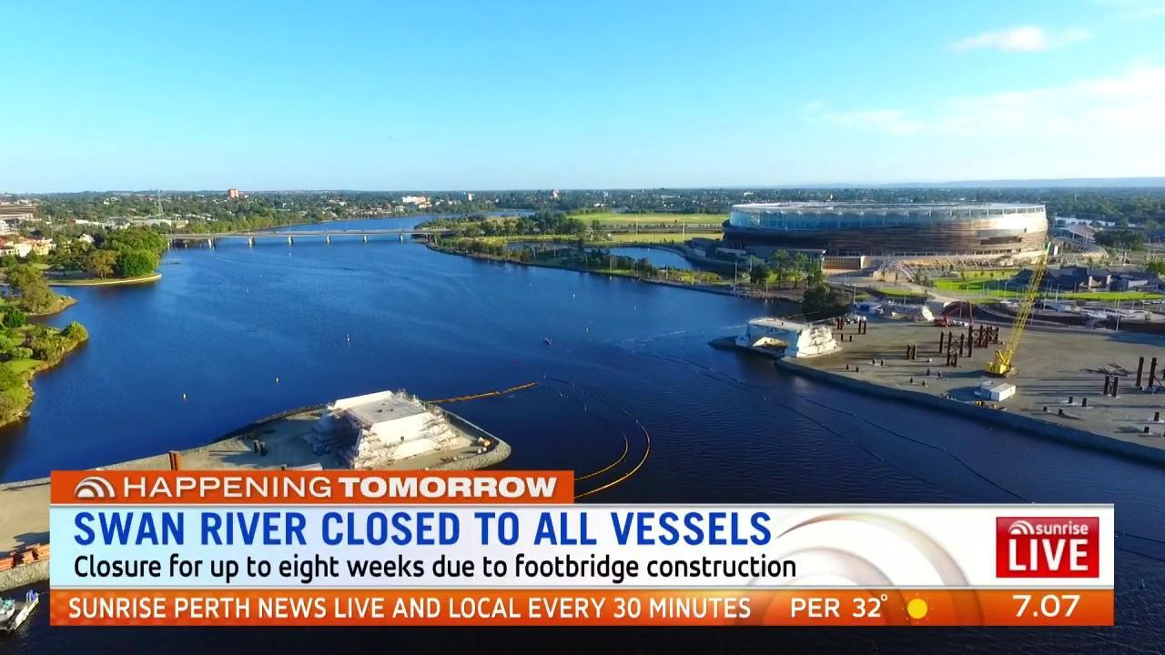 From tomorrow the river will be closed between Burswood and East Perth for up to eight weeks.
