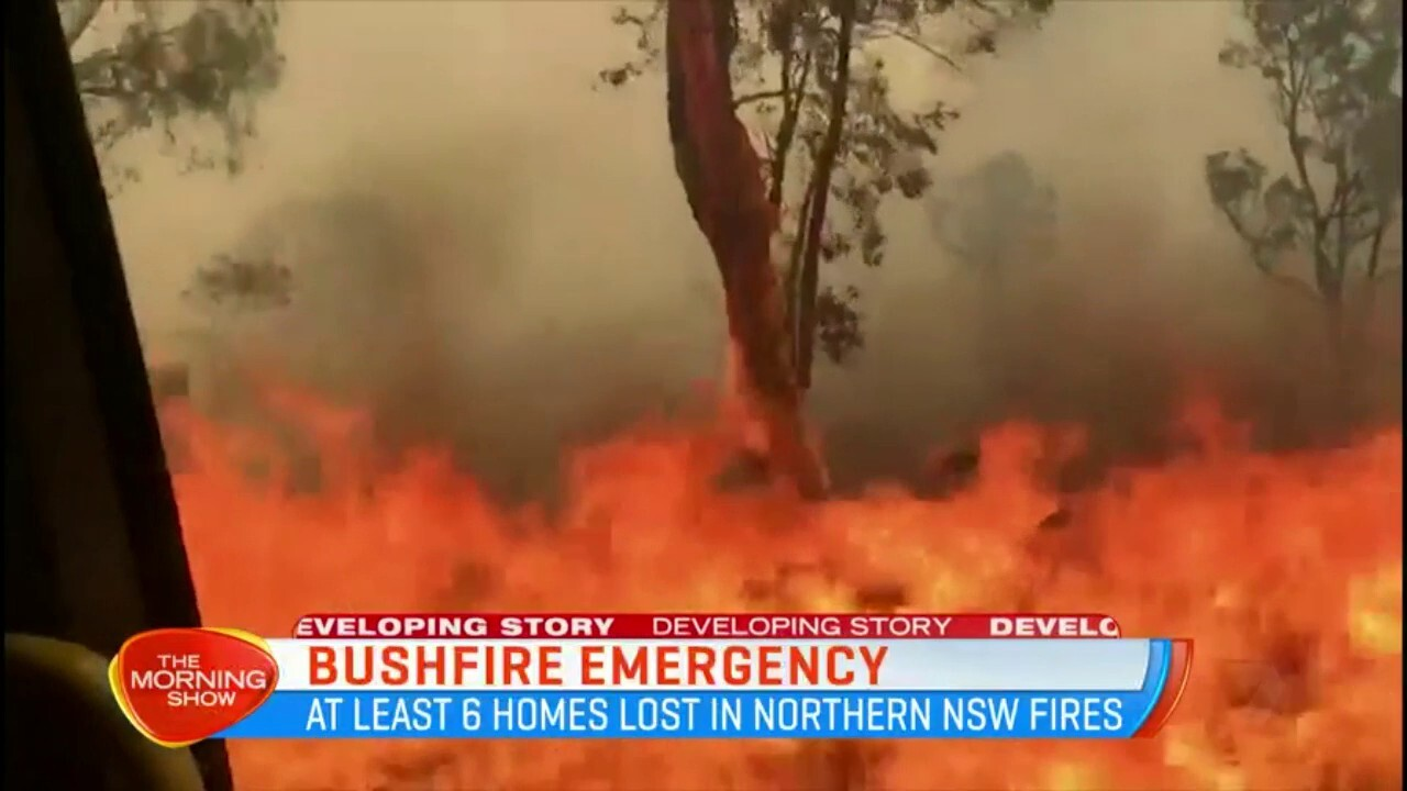 At least six homes have been lost in the northern NSW fires, with 12,500 hectares burnt.