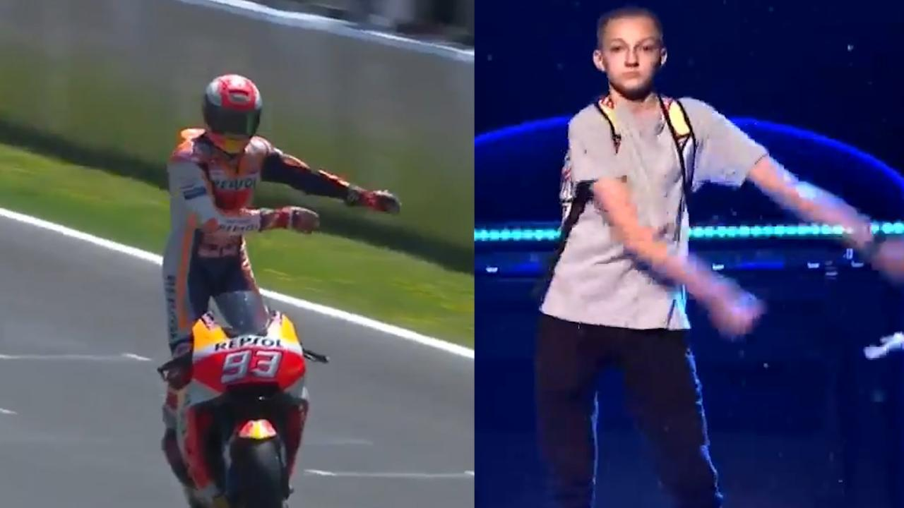 MotoGP rider Marc Marquez celebrated his win at the Spanish GP by doing The Backpack Kid's viral dance move.