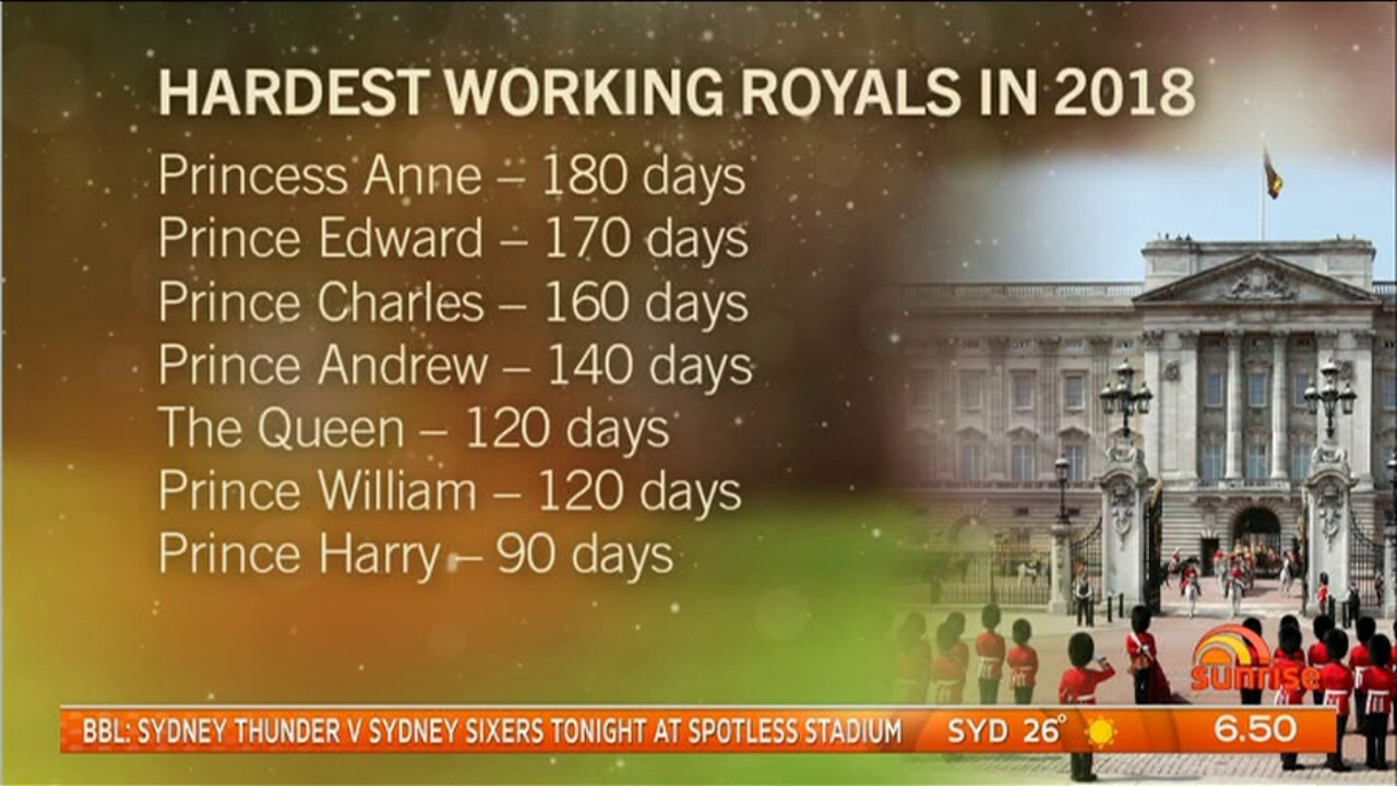 Princess Anne carried out official engagements on more than 180 days this year