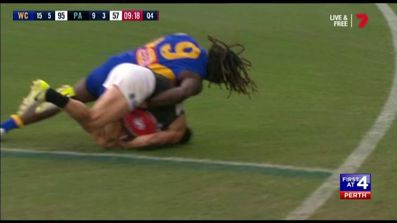 Watch the tackle on Karl Amon that got the West Coast ruckman banned for one week.