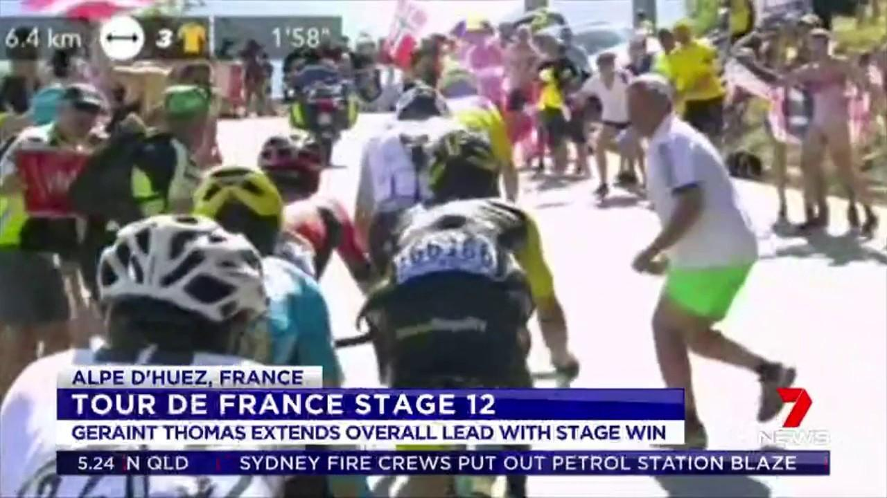 Defending champion Chris Froome appeared to receive a push from a spectator in the final kilometres of the stage