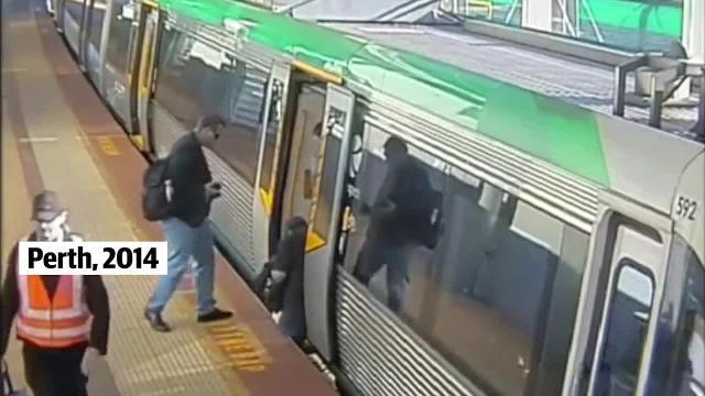 WATCH. Boston commuters have saved a passenger stuck between the train and the platform in scenes eerily reminiscent of ones in Perth several years ago.