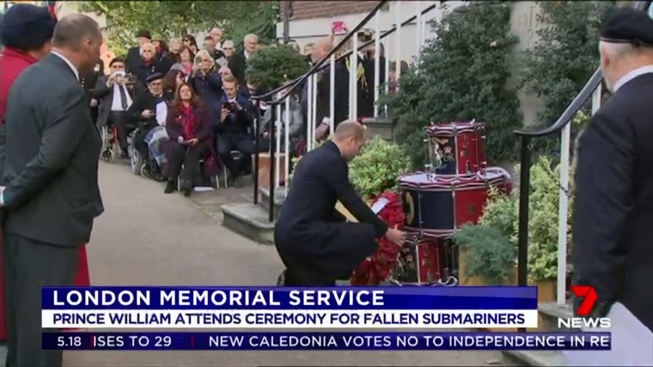 Prince William paid tribute to those who died manning submarines at a memorial service in London