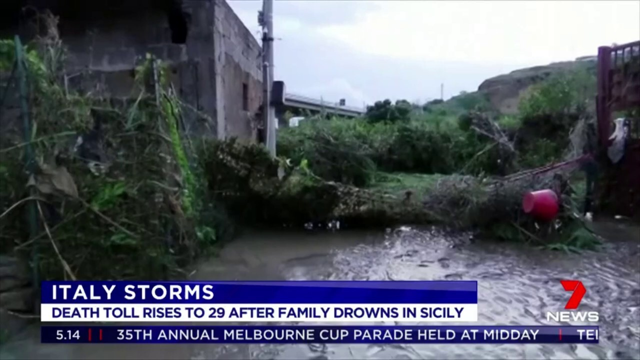 The death toll from Italy's storms has risen to 29 after nine people including three children from the same family drowned inside a house