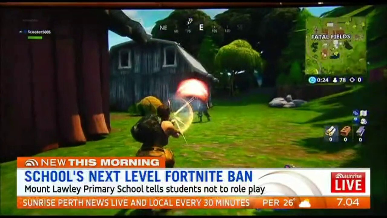 Mt Lawley Primary School has banned students acting out scenes from the violent video game Fortnite in the playground