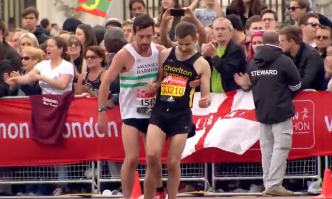 One runner helps an exhausted stranger finish the London Marathon.