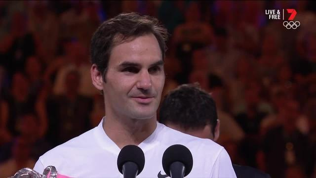 An emotional Roger Federer has won a sixth Australian Open and a record 20th grand slam title.