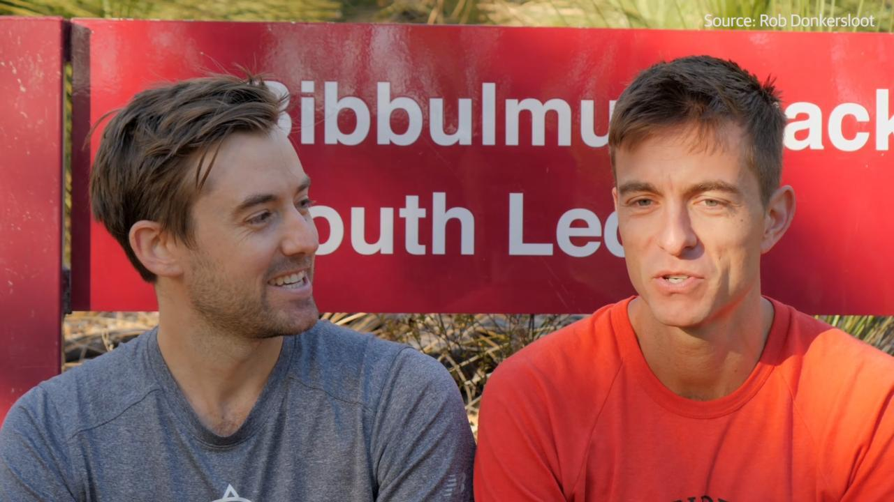 Shane Johnstone and James Roberts are aiming to run the Bibbulmun Track in record time, beating the previous best of 15 days, nine hours and 48 minutes. Source: Rob Donkersloot
