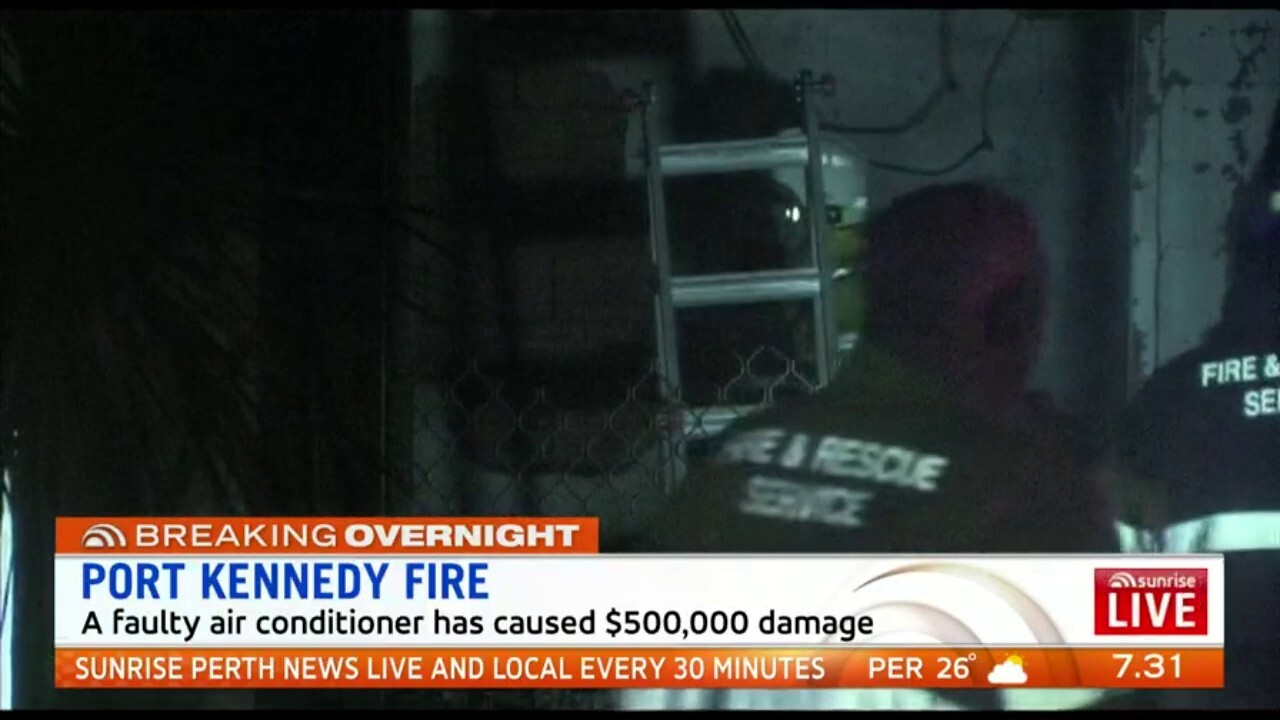 A fire caused by a faulty air conditioner badly damaged a home in Port Kennedy last night