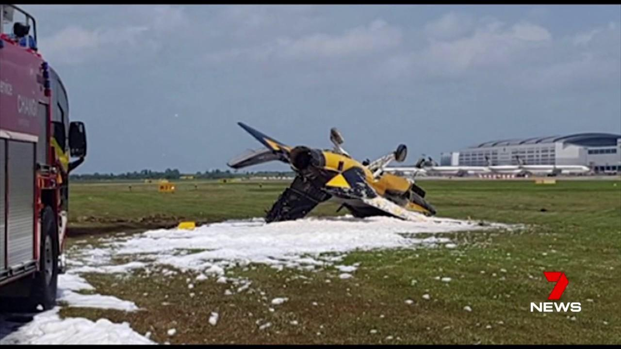 The plane can be seen skidding off the runway during takeoff.