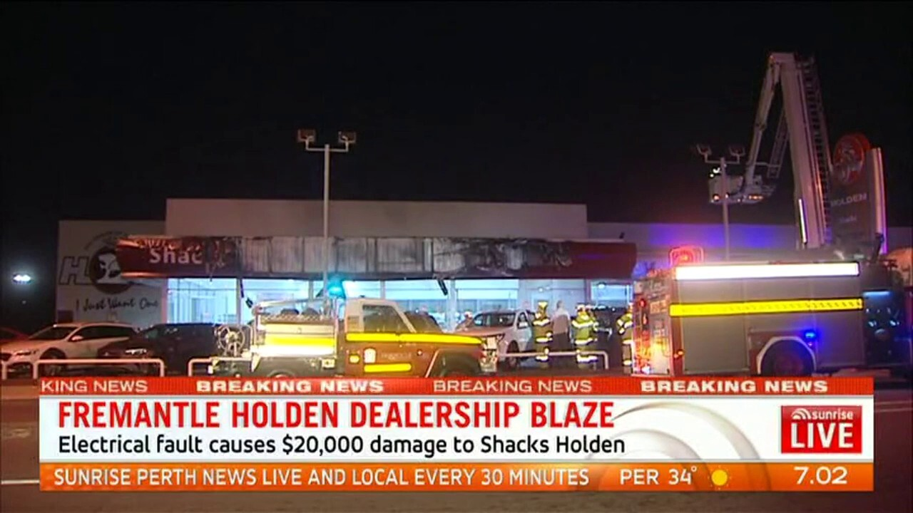 A fire caused by an electrical fault left $20,000 damage to Shacks Holden in Fremantle
