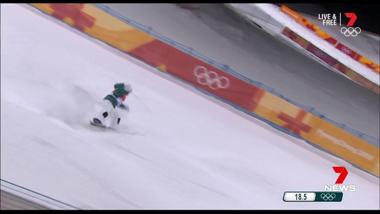 The world champion came fifth in the moguls event.