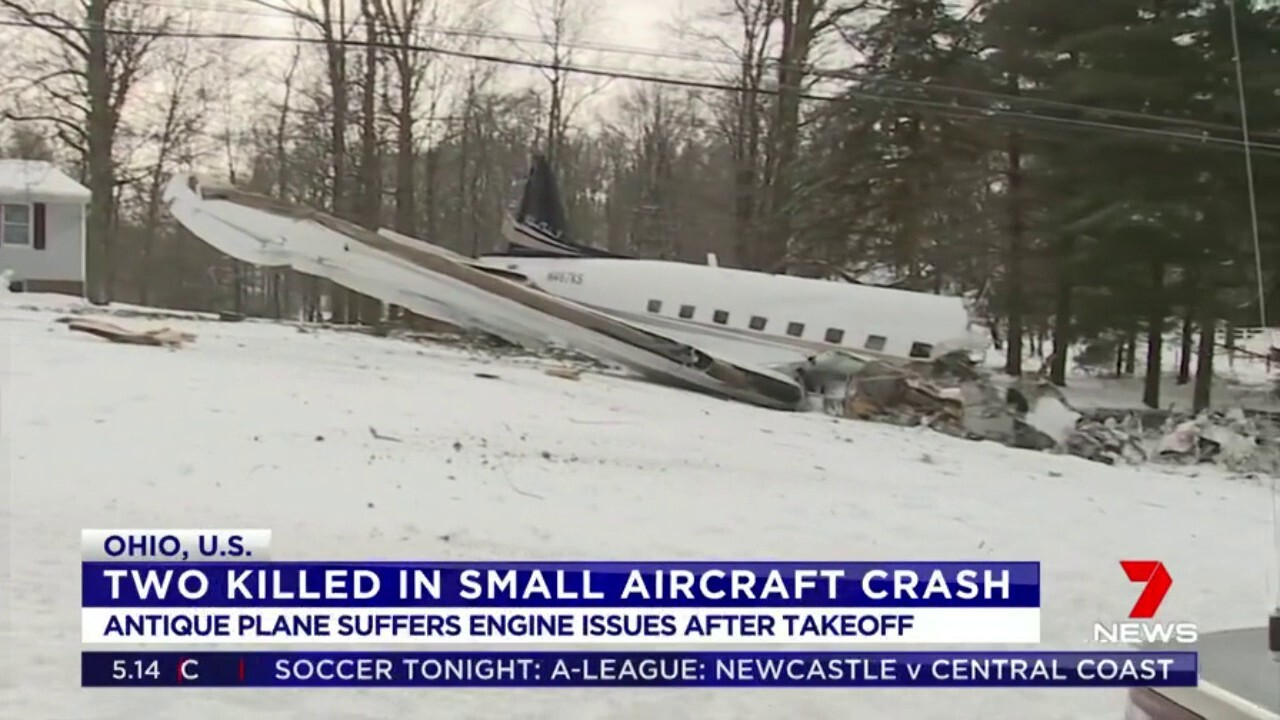Two people have been killed after a small plane crashed in the front yard of a home in the US