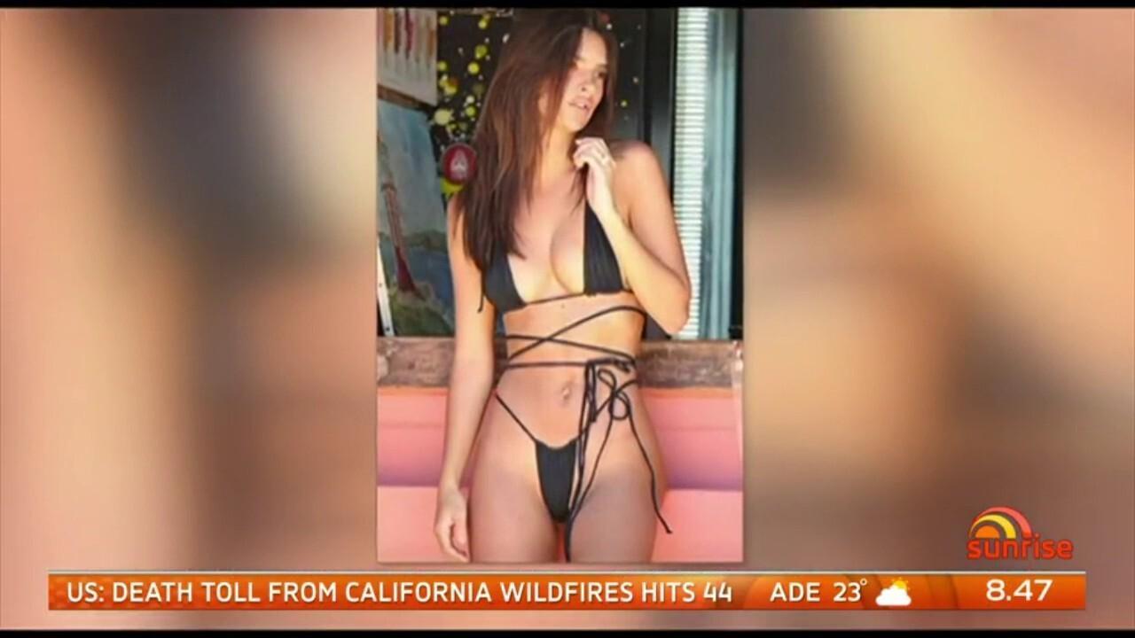 An American model has caused a stir by wearing a skimpy bikini on a Sydney beach