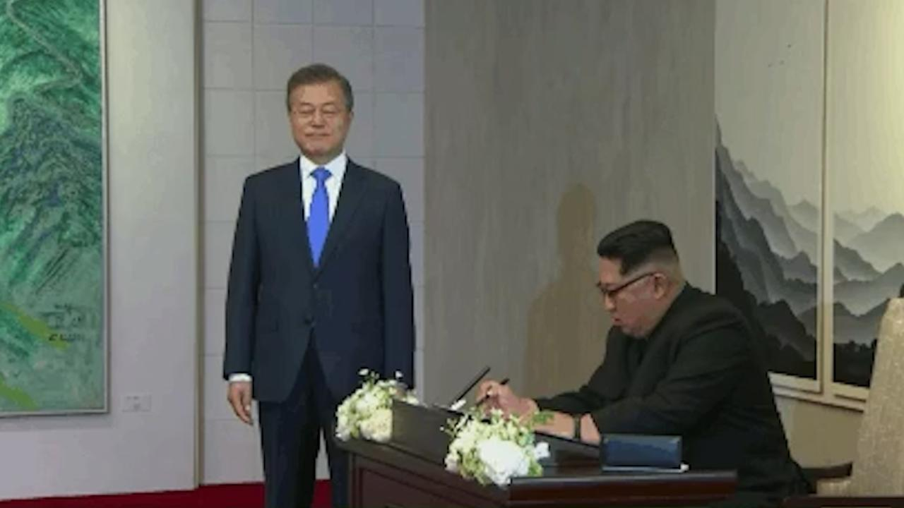 Kim Jong Un has left a message in the guestbook at the Peace House summit