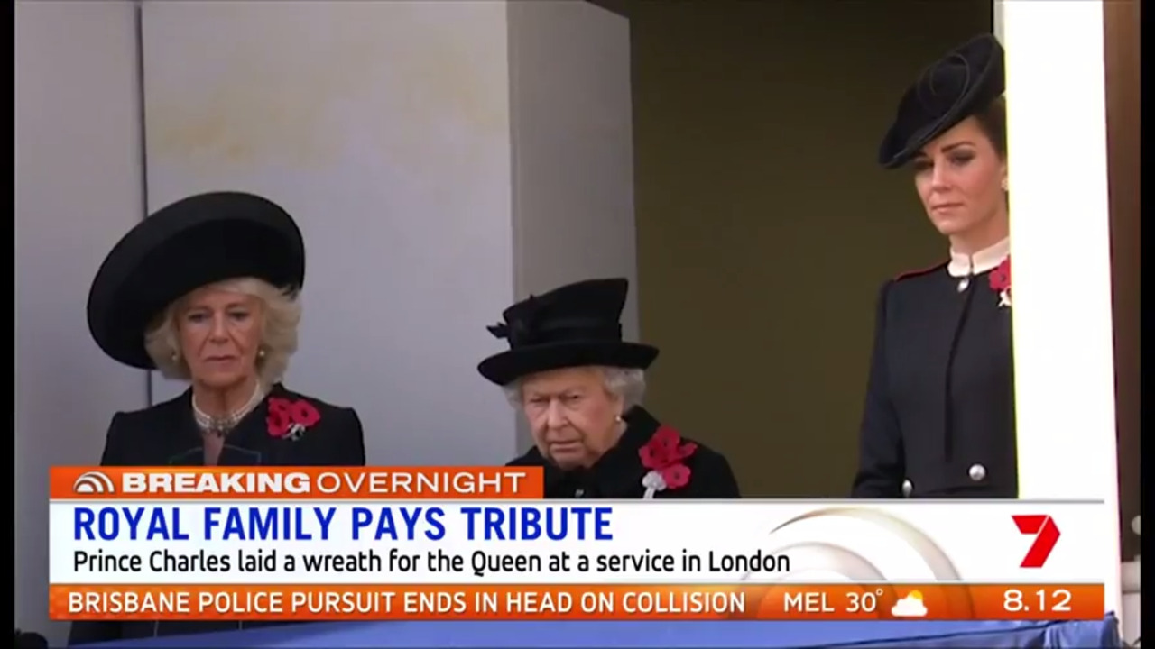 The Queen and most of the senior members of the royal family paid tribute to Britain's war dead