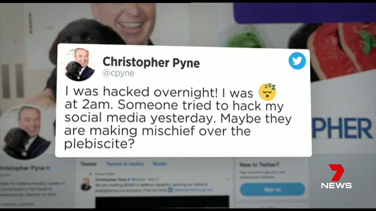 Christopher Pyne is blaming hackers for his strange Twitter activity.