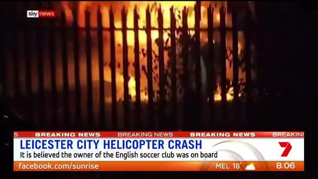 The helicopter crashed outside Leicester City's The King Power stadium.