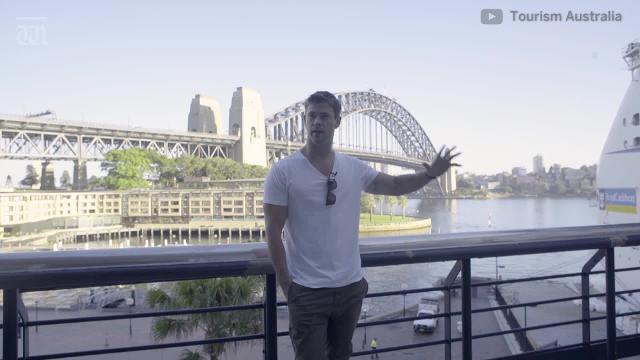 Tourism Australia global ambassador Chris Hemsworth talks about the star-studded Crocodile Dundee-inspired TV commercial.
