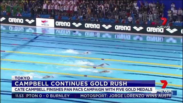 Aussie swimmer Cate Campbell finished the Pan Pacs in Japan with five gold medals