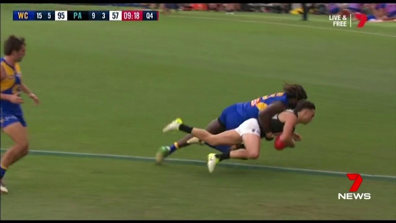 The Eagles ruckman is fighting a one match ban for the tackle on the Port Adelaide's Karl Amon.