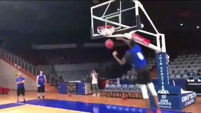 Adelaide 36ers star and NBA draft prospect Terrance Ferguson unleashes dunk comp-worthy move at training. Source: NBL.