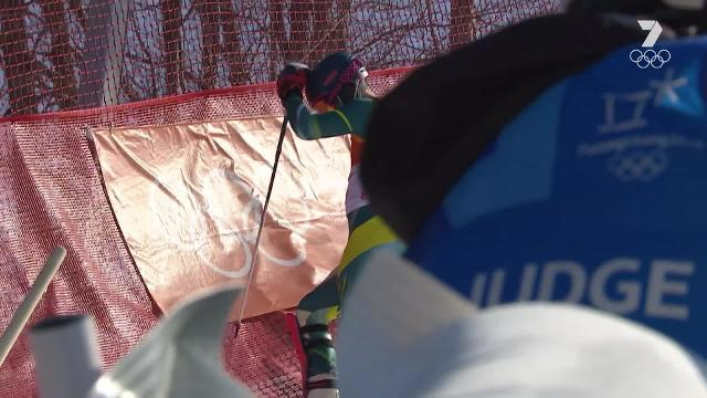 Dom Demschar was gutted after he careened into the first gate of his slalom run, less than two seconds into his slalom run.