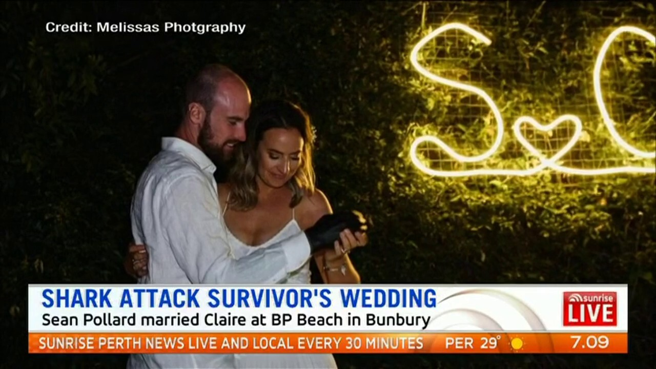 Sean Pollard who survived two shark attacks married Claire at a beach wedding in Bunbury