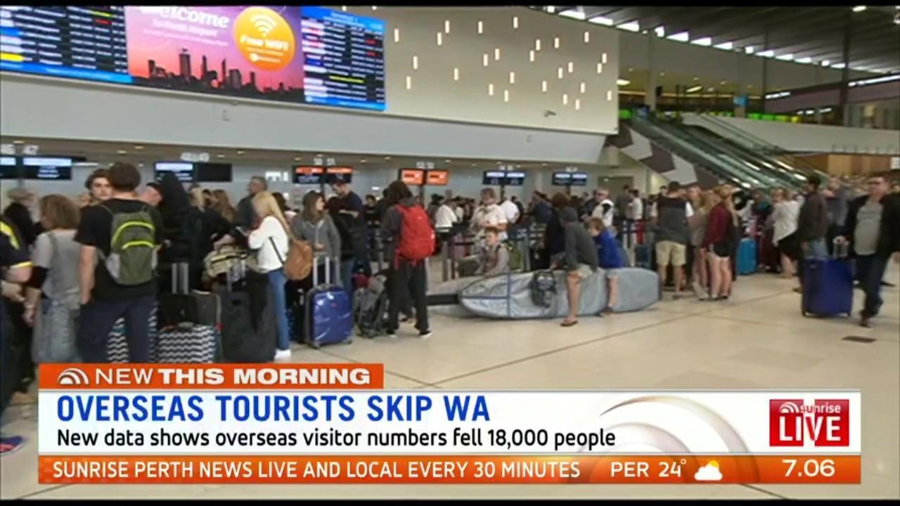 New data shows overseas visitor numbers fell 18,000 people over the past year with WA the only state to record a drop