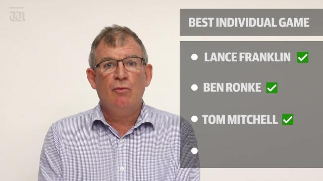 WATCH: Was it Jack Riewoldt's 10 goals against Gold Coast or Ben Ronke's seven against the Hawks? Our team has named who they think had the best individual performance of the season.