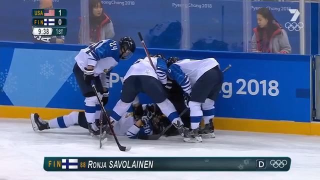 Finnish player Ronja Savolainen face-planted into the wall after a knee-on-knee collision.